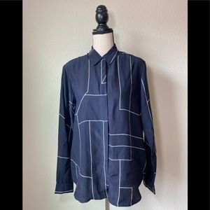 Theory Aqualina B Geometric Blouse in Navy